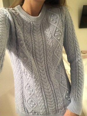 hellblauer Zara Pullover mit Zopfmuster