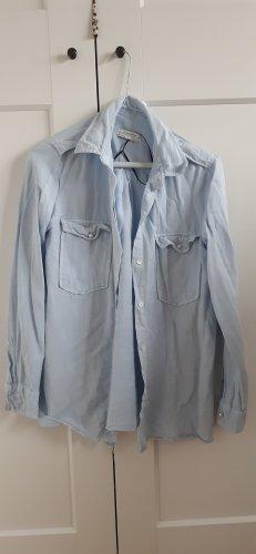 Zara Blusa denim blu pallido-azzurro