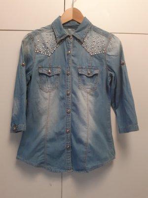 Unbekannte Marke Camisa vaquera color oro-azul celeste