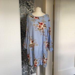 Hellblaues Kleid ca. Gr 46/48 bunt mit Blüten leicht dünn