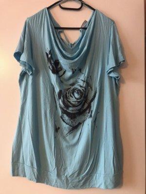 Hellblaues Shirt mit Blume und Glitzersteine