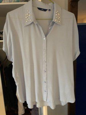hellblaues Tom Tailor Blusenshirt mit Perlenkragen