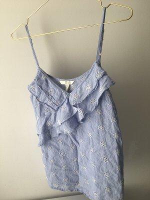 H&M Top con balze bianco-azzurro Cotone
