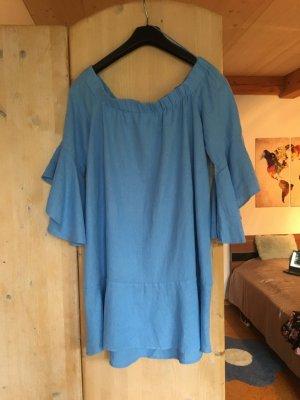 Hellblaues Zara Off-Shoulder Kleid Größe S