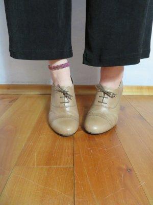 Hellbraun Vagabond Leder Schnür Schuhe - Gr. 37 - Budapester Oxford Heel Schuhe Blockheel