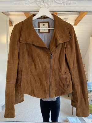 Campus by Marc O'Polo Leather Jacket cognac-coloured-brown leather