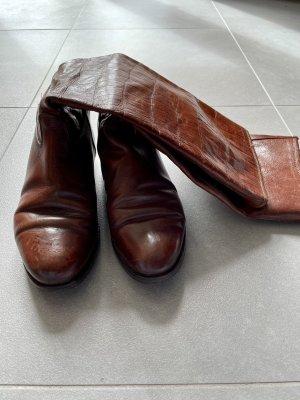 Bottes plissées cognac-brun