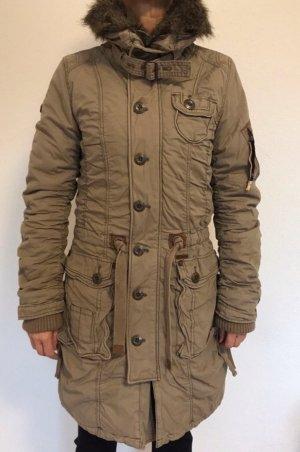 Khujo Manteau à capuche marron clair-gris anthracite