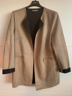 Leren blazer zwart bruin-lichtbruin Polyester