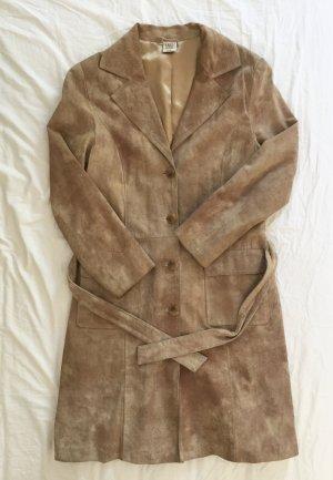 Hellbrauner Vintage Mantel aus Wild-leder 70er Jahre mit Gürtel