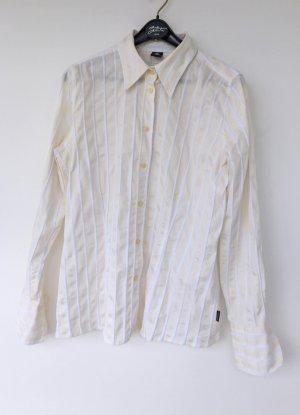 Bogner Jeans Koszulowa bluzka biały-jasnożółty Bawełna