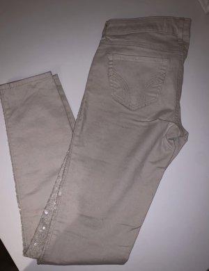 Hollister pantalón de cintura baja crema-gris claro