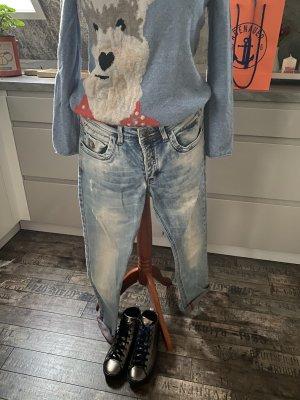 1 brand Jeansy typu boyfriend błękitny-chabrowy