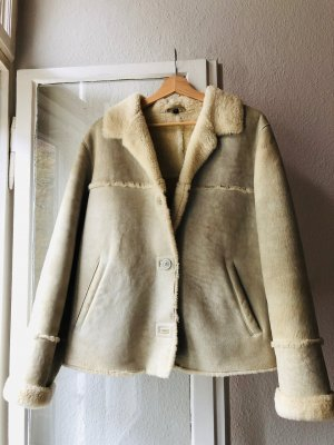 Vintage Fur Jacket oatmeal-natural white leather