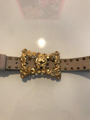 Elisa Cavaletti Cinturón de pinchos crema-color oro