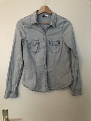 H&M Divided Jeansowa koszula jasnoniebieski-biały