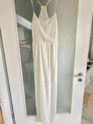 Helles langes Kleid mit transparentem Rock und Rücken
