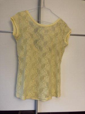 Hellgelbes Spitzenshirt Zara