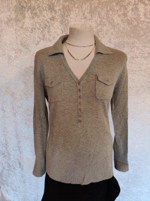 hellgrauer schicker Polo-Pullover von Ambee Gr. M