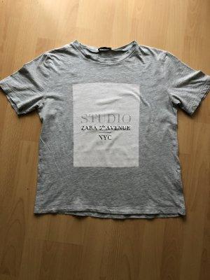 Hellgrauer T-Shirt Zara S