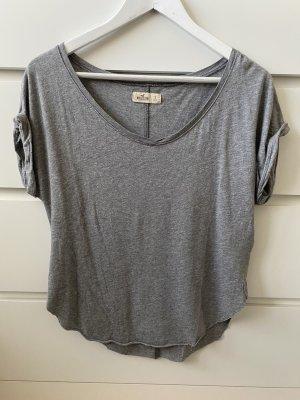 Hellgraues graues Basic T-Shirt von Hollister S 36