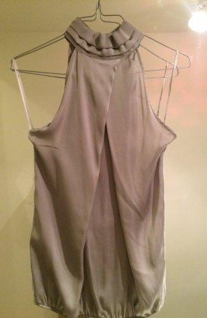 Zara Halter Top silver-colored polyester