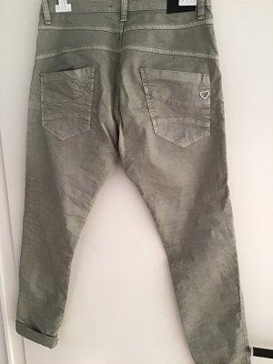 Please Pantalon cinq poches gris vert coton
