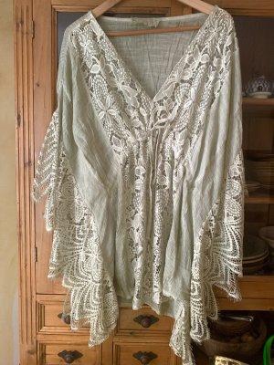 0039 Italy Koronkowa bluzka szaro-zielony