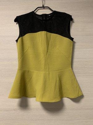 H&M Top peplum negro-amarillo limón