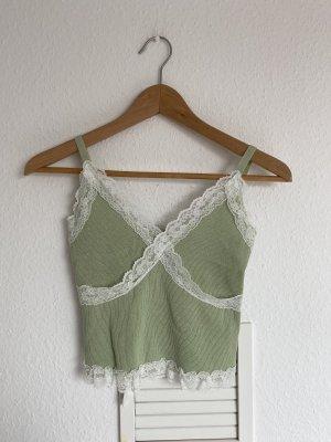Vintage Cropped top lichtgroen-grijs-groen