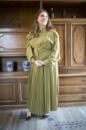 Vintage Traje para mujer verde hierba-amarillo limón Poliéster