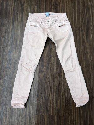 Please pantalón de cintura baja rosa claro