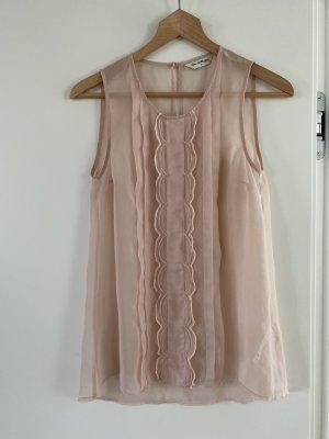 Miss Selfridge Frill Top light pink polyester