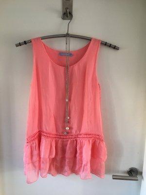 Alice Rinaldi Mouwloze blouse lichtrood-zalm