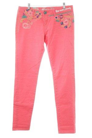 Hellrote Desigual Slim Jeans * mit gesticktem Blumenmuster