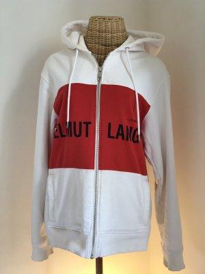 Helmut Lang Felpa con cappuccio bianco-rosso