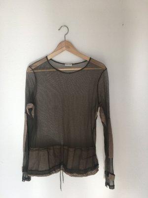 Helmut Lang Medium m Longsleeve Pullover Oberteil Top Sommer Shirt transparent mesh Designer Marke hochwertig Luxus Khaki oliv kitt