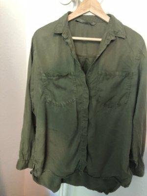 Zara Chemise à manches longues gris vert coton
