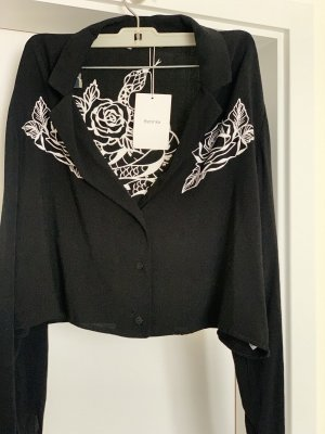 Bershka Flannel Shirt black