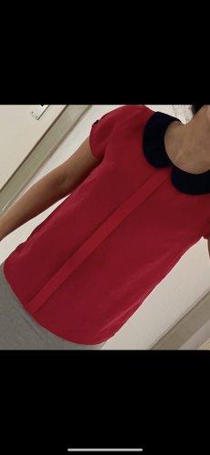 / Chemise à manches courtes bleu foncé-rouge framboise