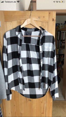 Abercrombie & Fitch Chemise en flanelle noir-blanc coton