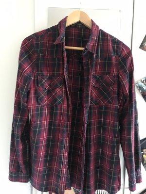 Koszula w kratę głęboka czerwień-czarny