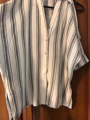 Chemise à manches courtes blanc-bleu azur