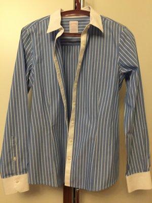 Brooks Brothers Blouse-chemisier bleu fluo-blanc coton