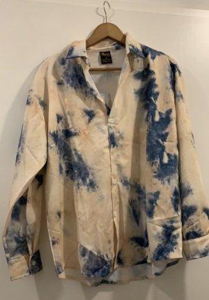 Camisa de manga larga azul acero-crema