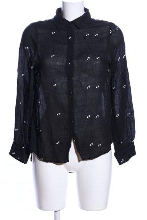 Hemd-Bluse schwarz-weiß Allover-Druck Business-Look