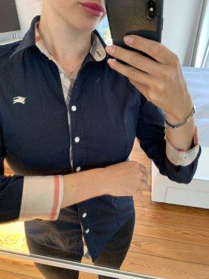 Camisa de manga larga azul oscuro Algodón