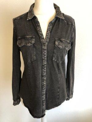 Hemd Bluse schwarz anthrazit Batik Jeanslook Gr. S