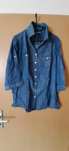 Canda Camicia blusa blu acciaio Lyocell