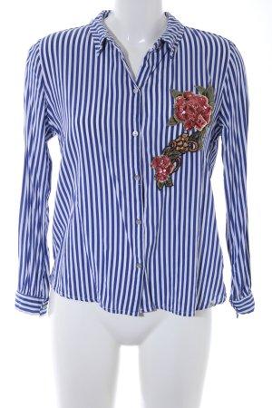 Key Largo Hemd-Bluse stahlblau-weiß Streifenmuster Casual-Look